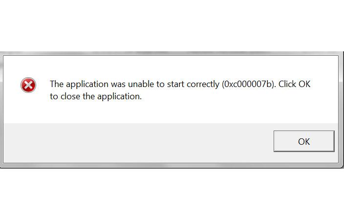 Para reparar 0xc00007b error