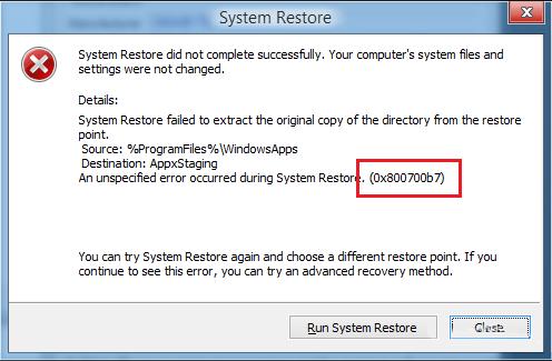 Corregir el error 0x800700b7