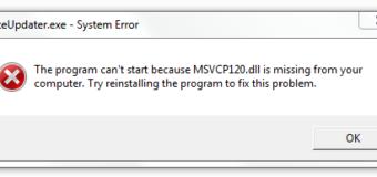 Cómo corregir error MSVCR120.dll que falta