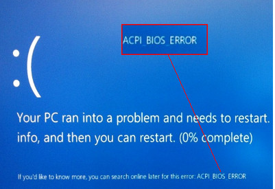 eliminar ACPI_BIOS_ERROR en Windows 10