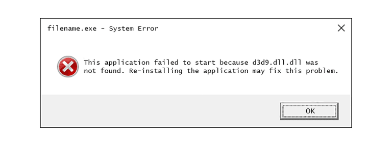 consiga librado de d3d9.dll está faltando el error