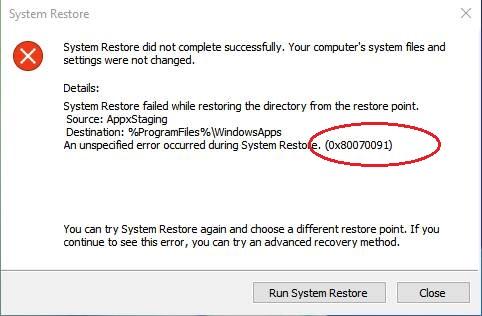 quitar error de restauración del sistema