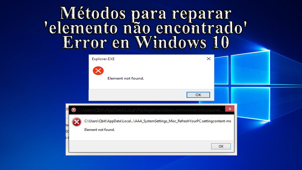 desinstalar 'elemento não encontrado' en Windows 10