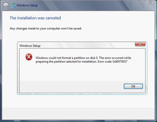 actualización de Windows 0x80070057 código de error