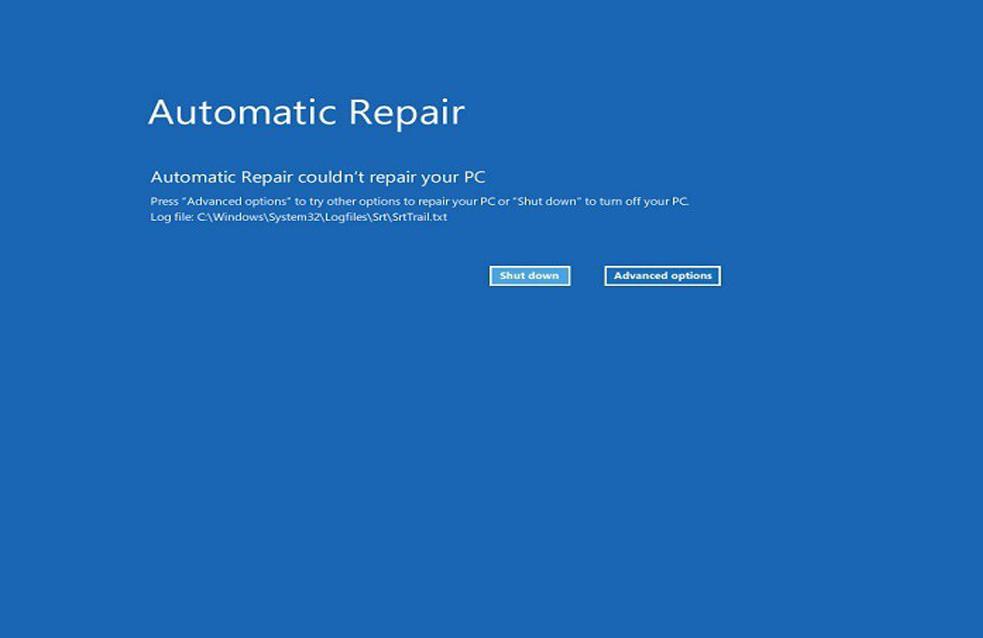 Windows 10 Reparación automática no podría reparar su PC