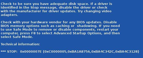 error 0x0000007E en Windows 7