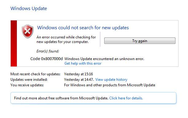 el código de error de Windows 10 0x8007000d