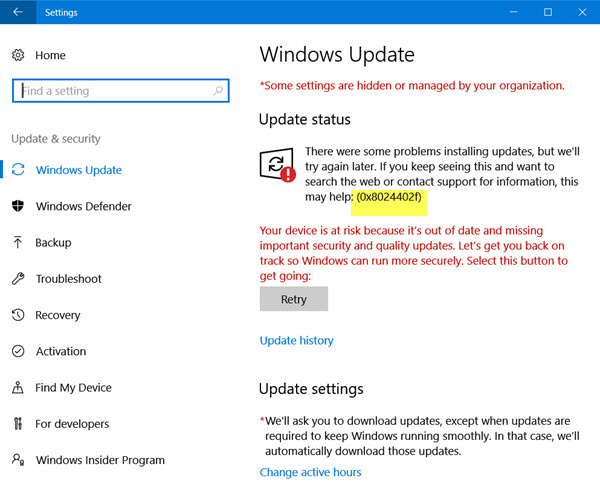 actualización de Windows 10 0x8024402f