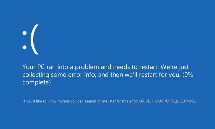 reparar el error DRIVER_CORRUPTED_EXPOOL en Windows 10