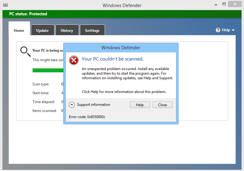 elimine el código de error 0x8050800c de Windows Defender