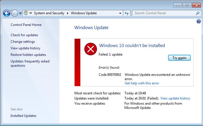resuelva el error del sistema de Windows 10 0x800703F1