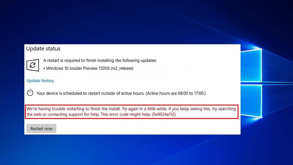 eliminar Windows 10 Update Error 0x8024a112