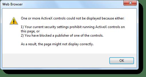 """""""Su configuración de seguridad actual prohíbe ejecutar ActiveX"""","""