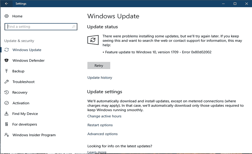 eliminar Windows Update Error 0x80d02002