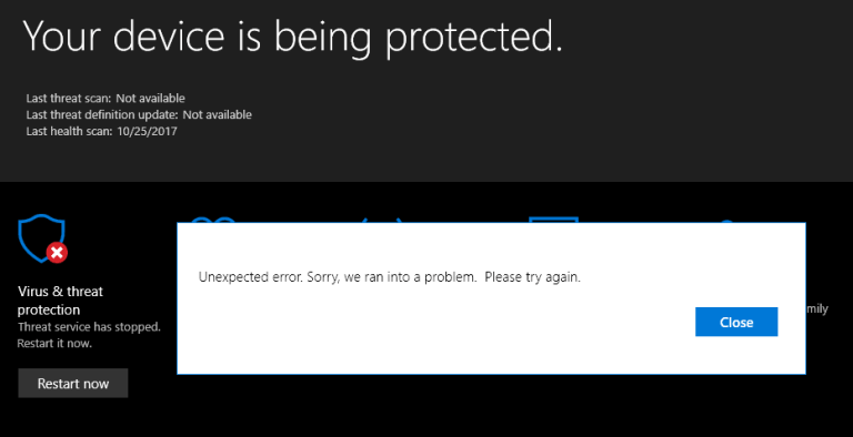 repare Windows 10 Defender