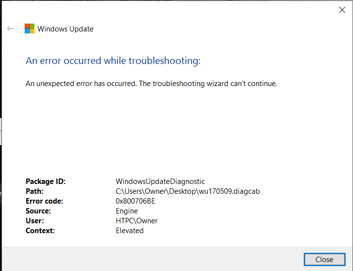 elimine el error 0x800706be de actualización de Windows 10